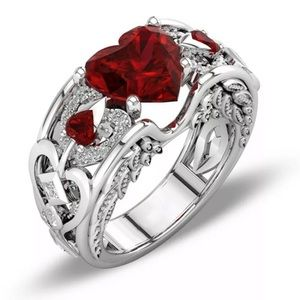New Silver and Lab Created Garnet Heart Ring Sz 9